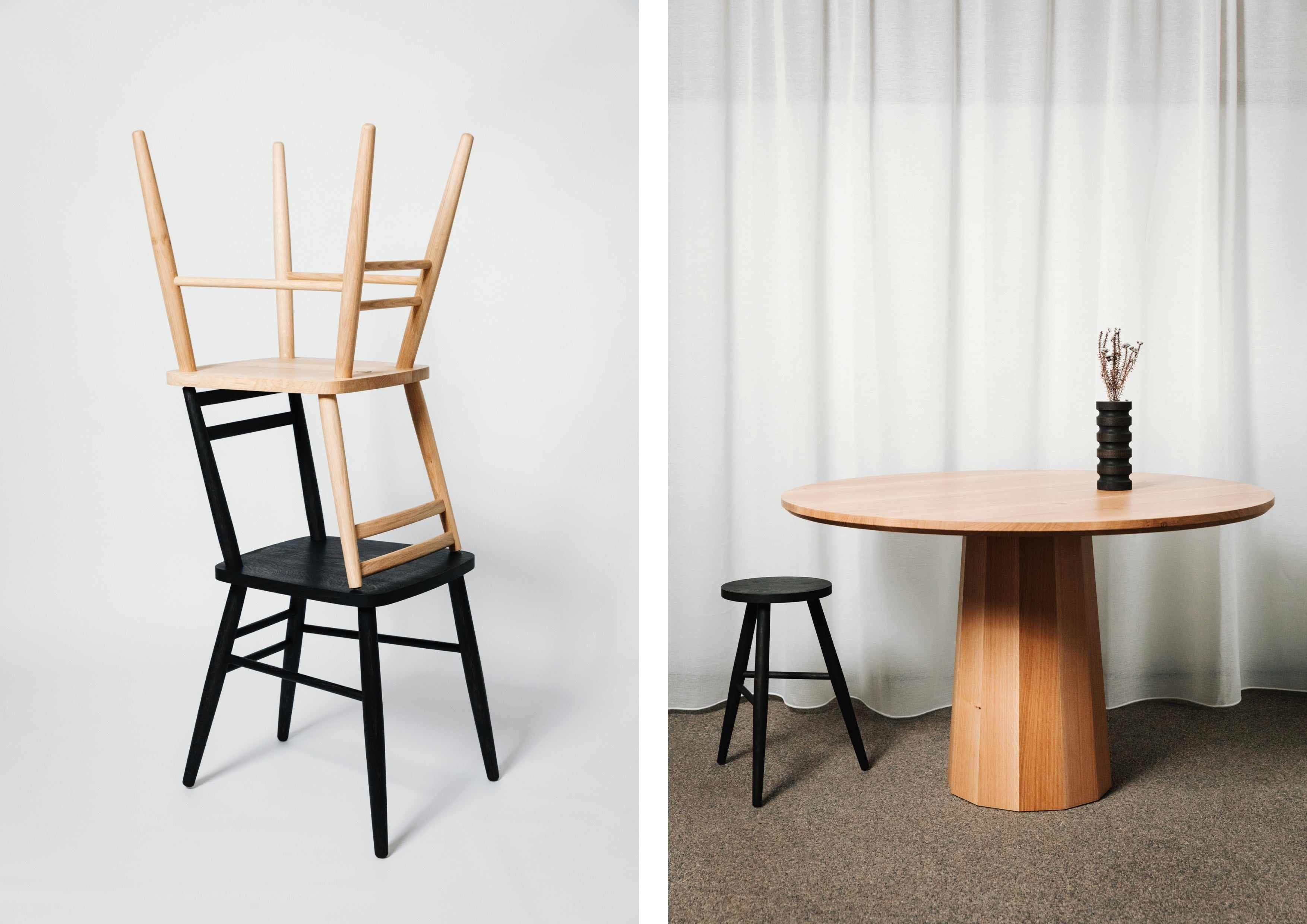 Left: Parlour Chair in Natural & Ebonised Oak. Right: Polygon Pedestal Dining Table