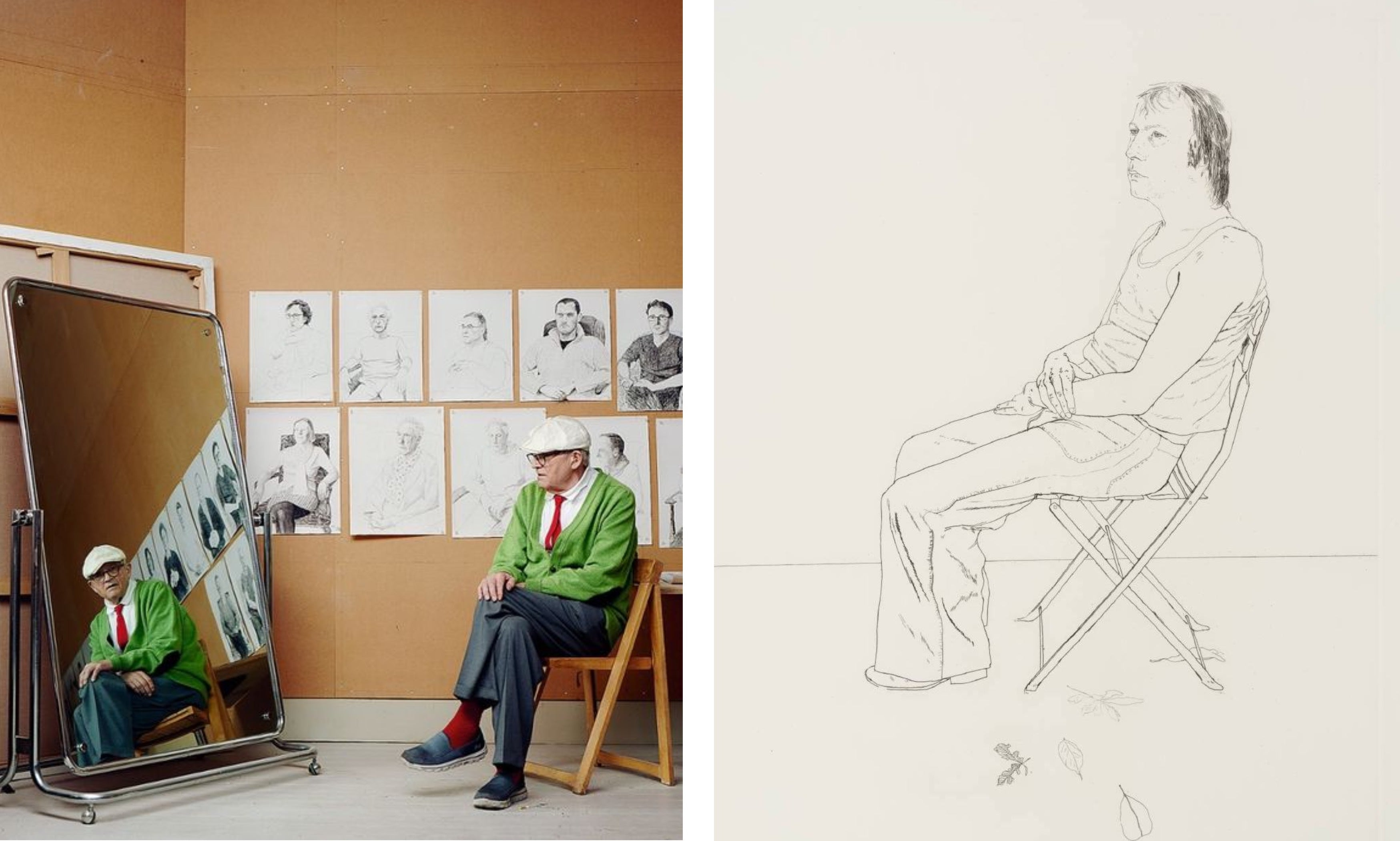 Left: Hockney in his studio, The Guardian, 2016. Right: Mo with Five Leaves, 1971