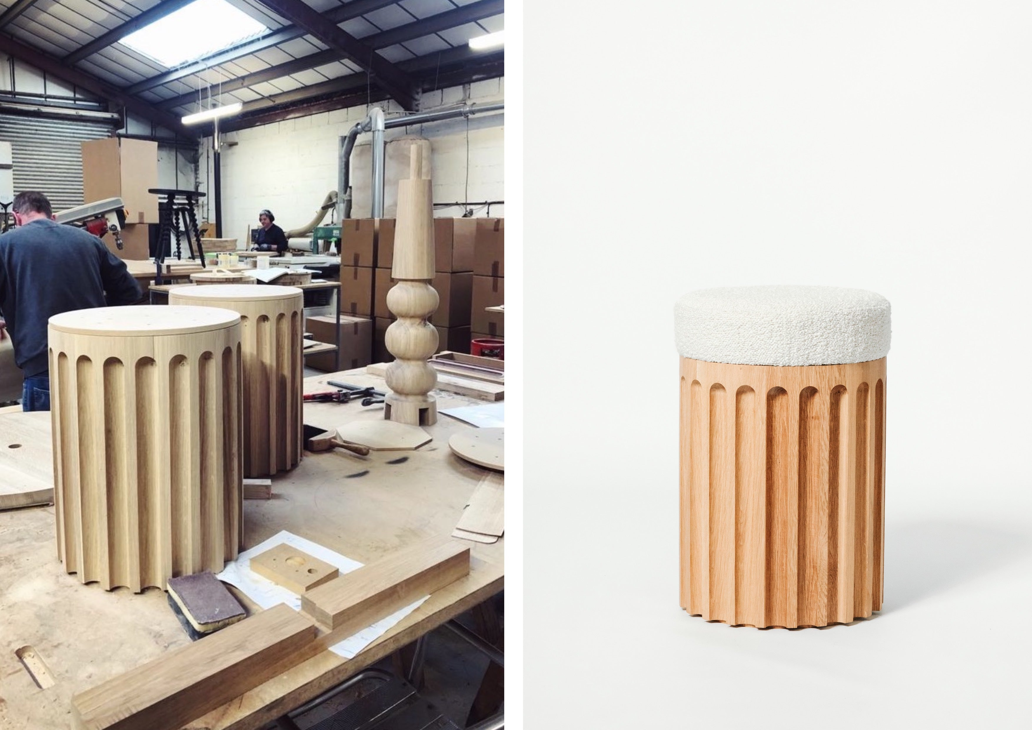 Process and Product: Our Fluted Stool, made in our workshop.