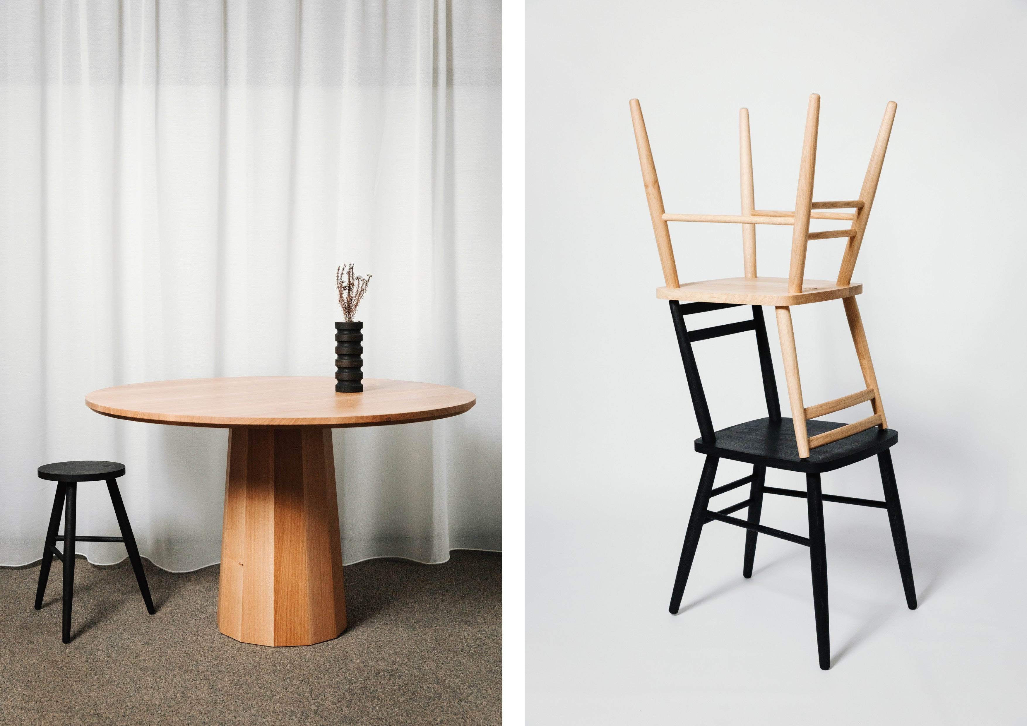 Our Polygon Pedestal Dining Table, Parlour Stool and Parlour Chairs in natural and ebonised oak