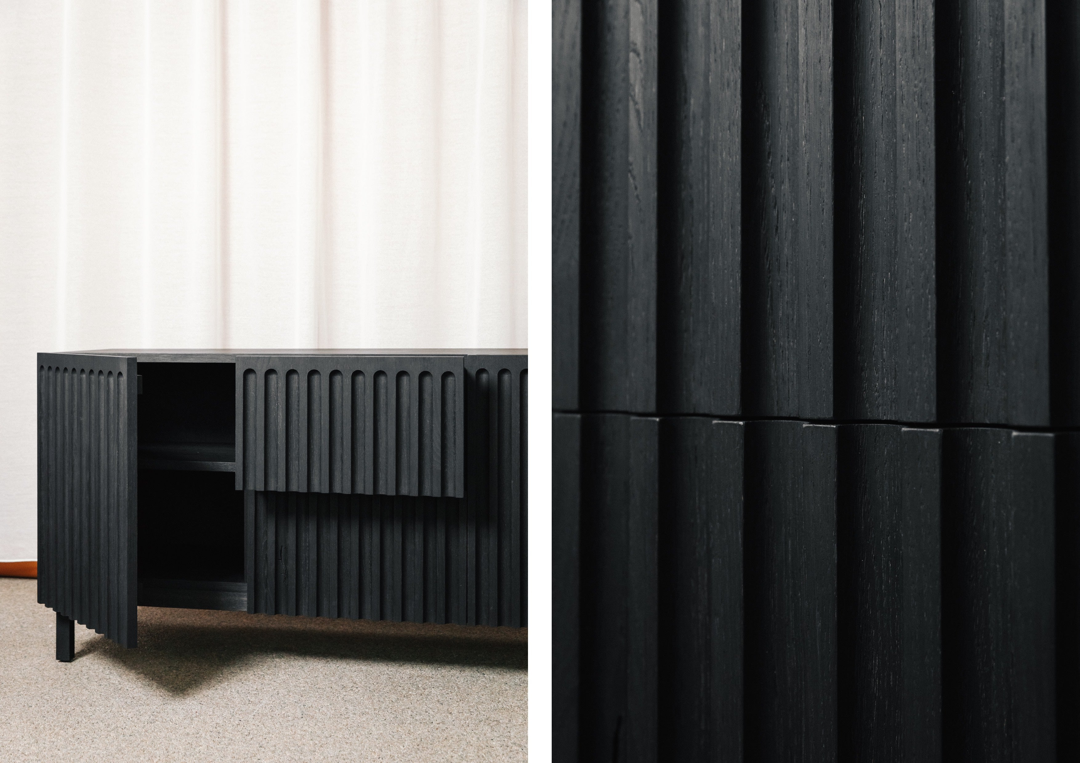 Fluted cabinet doors and drawers