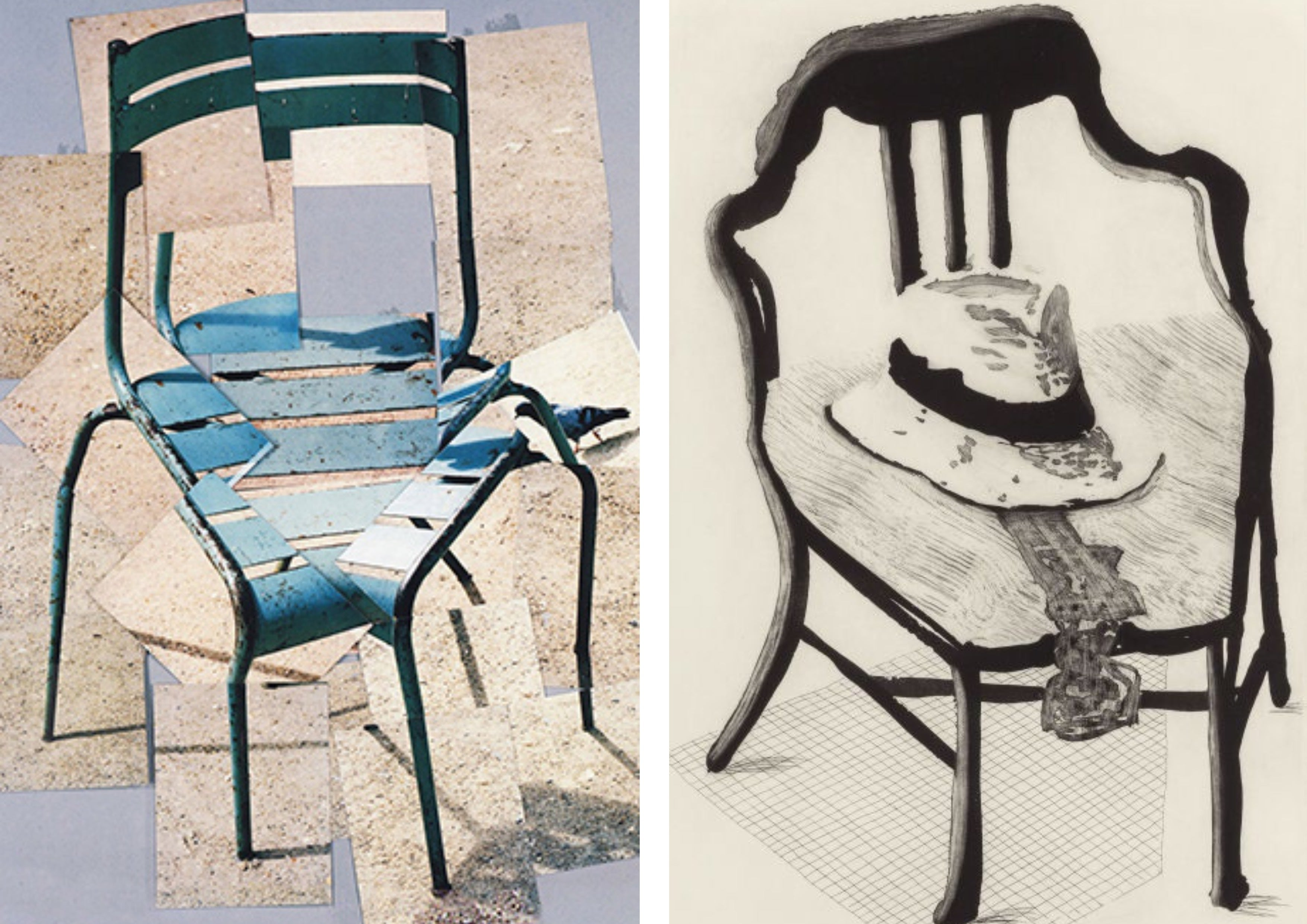 Left: 'A Chair' Photo Collage, 1985. Right: 'Panama Hat with Bow Tie on a Chair', 1998
