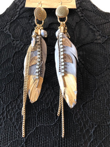 Gray gold dipped feather earrings