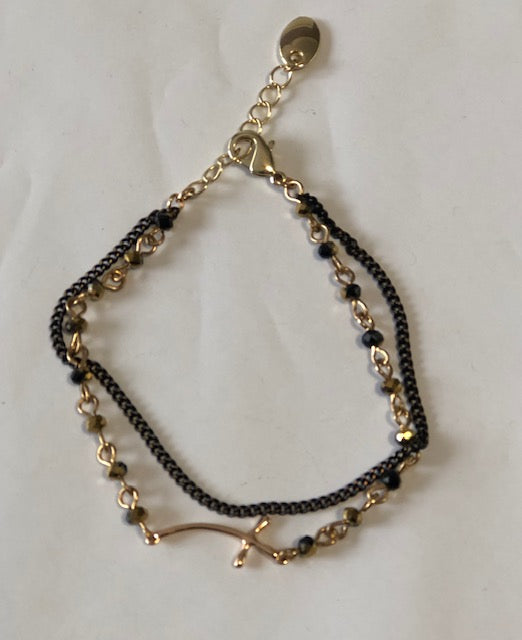 Black & Gold Cross Bracelet