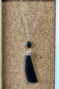 Black Leather Tassel Necklace