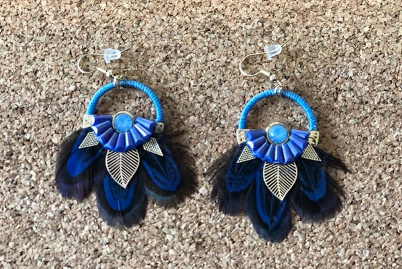 Blue Feather Loop Earrings