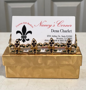Jeweled Fleur de Lis Business Card Holder