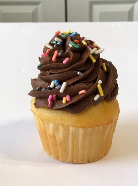 Cupcakes-Vanilla with Chocolate Frosting