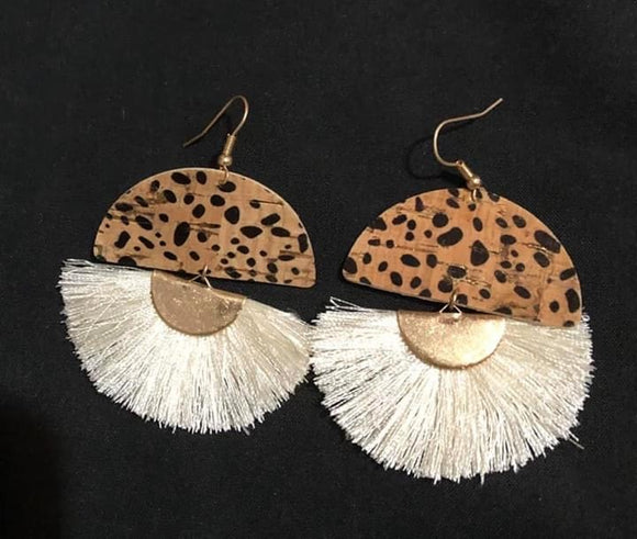 Animal print cork fan tassel earrings