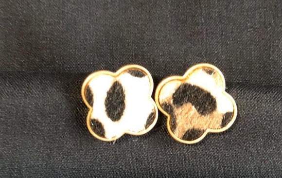 Animal Print Clover Earrings