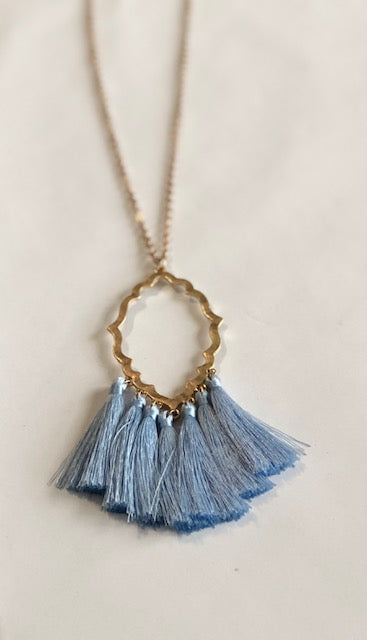Light Blue Tassel Diamond Necklace