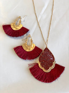 Crimson Earring & Necklace Set