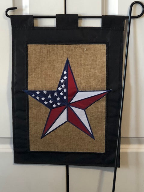 Red , White & Blue Star Garden Flag