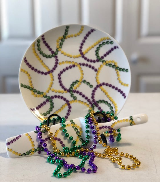 Mardi Gras Beads Plate & Knife Set