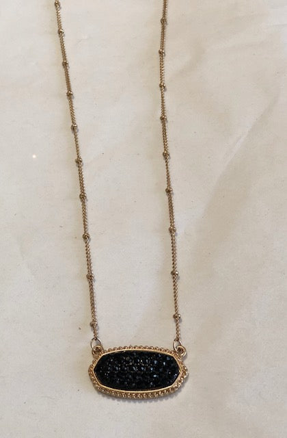 Oval Black Rhinestone Necklace