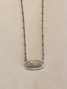 Oval Silver Rhinestone Necklace
