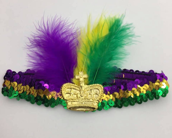 Mardi Gras Crown Sequin Headband