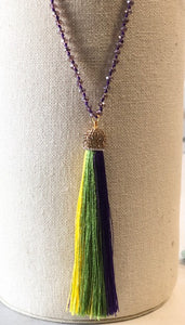 Mardi Gras Necklace with Crystal Bead Strand