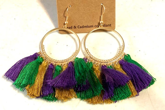 Mardi Gras Tassel Hoop Earrings