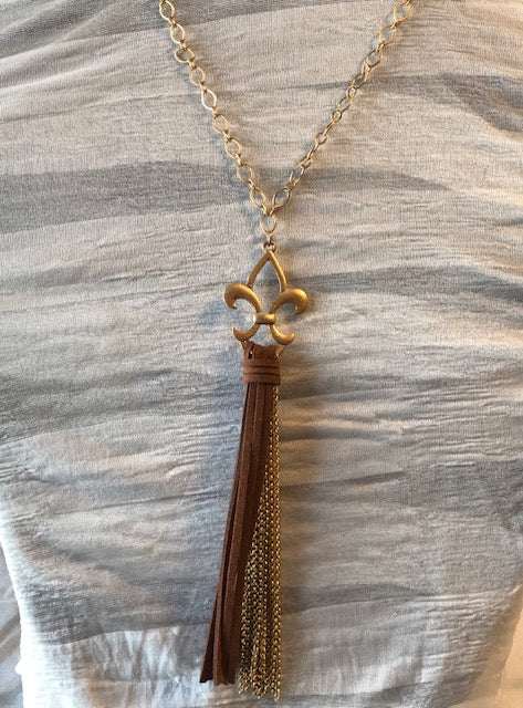 FDL Leather Tassel Necklace