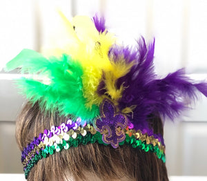 Mardi Gras FDL Sequin Headband with Feathers