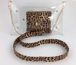 Clear Purse with Leopard Strap