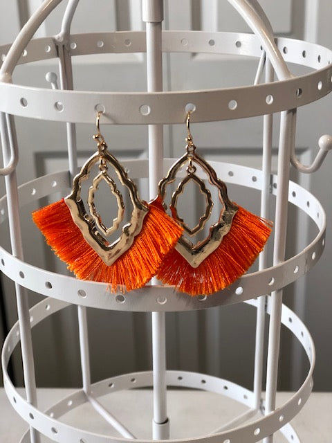 Orange Tassel Diamond Earrings