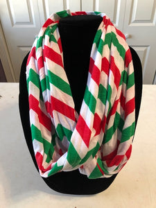 Red & Green Chevron Infinity Scarf