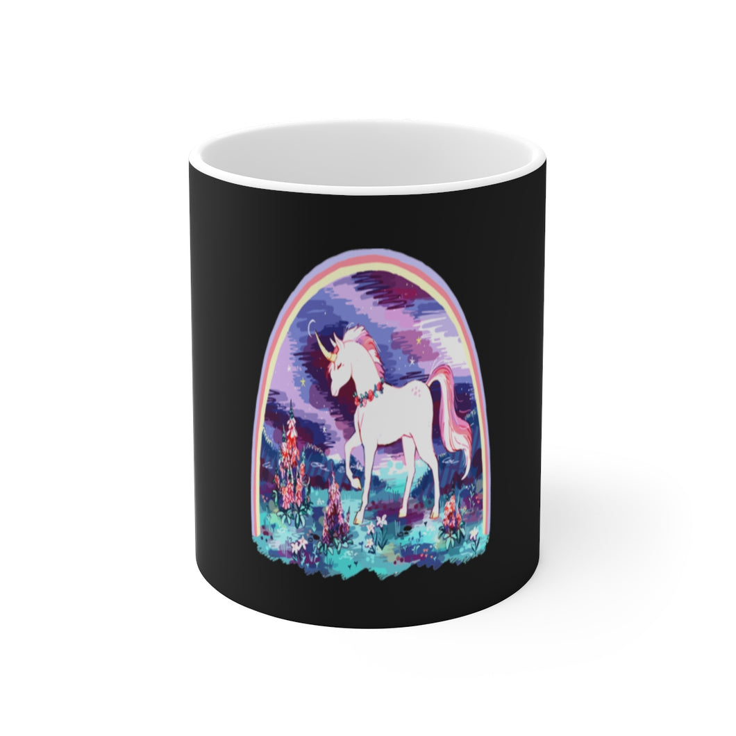 night garden unicorn White Ceramic Mug