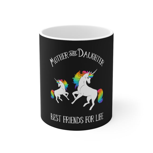 Mother and Daughter Unicorn White Ceramic Mug