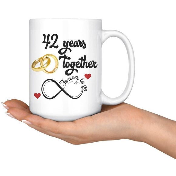 42nd Wedding Anniversary Gift For Him And Her, Married For 42 Years, 42nd Anniversary Mug For Husband & Wife, 42 Years Together With Her