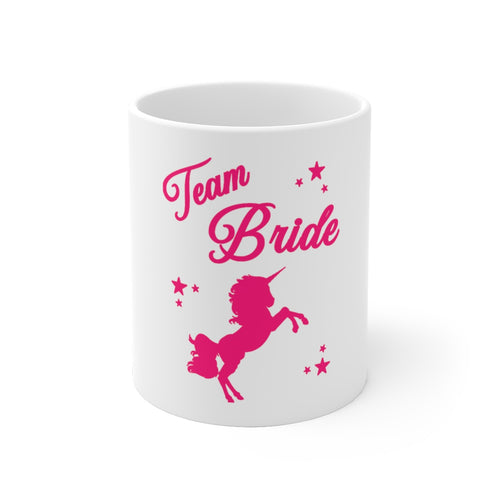 Team Bride Unicorn White Ceramic Mug