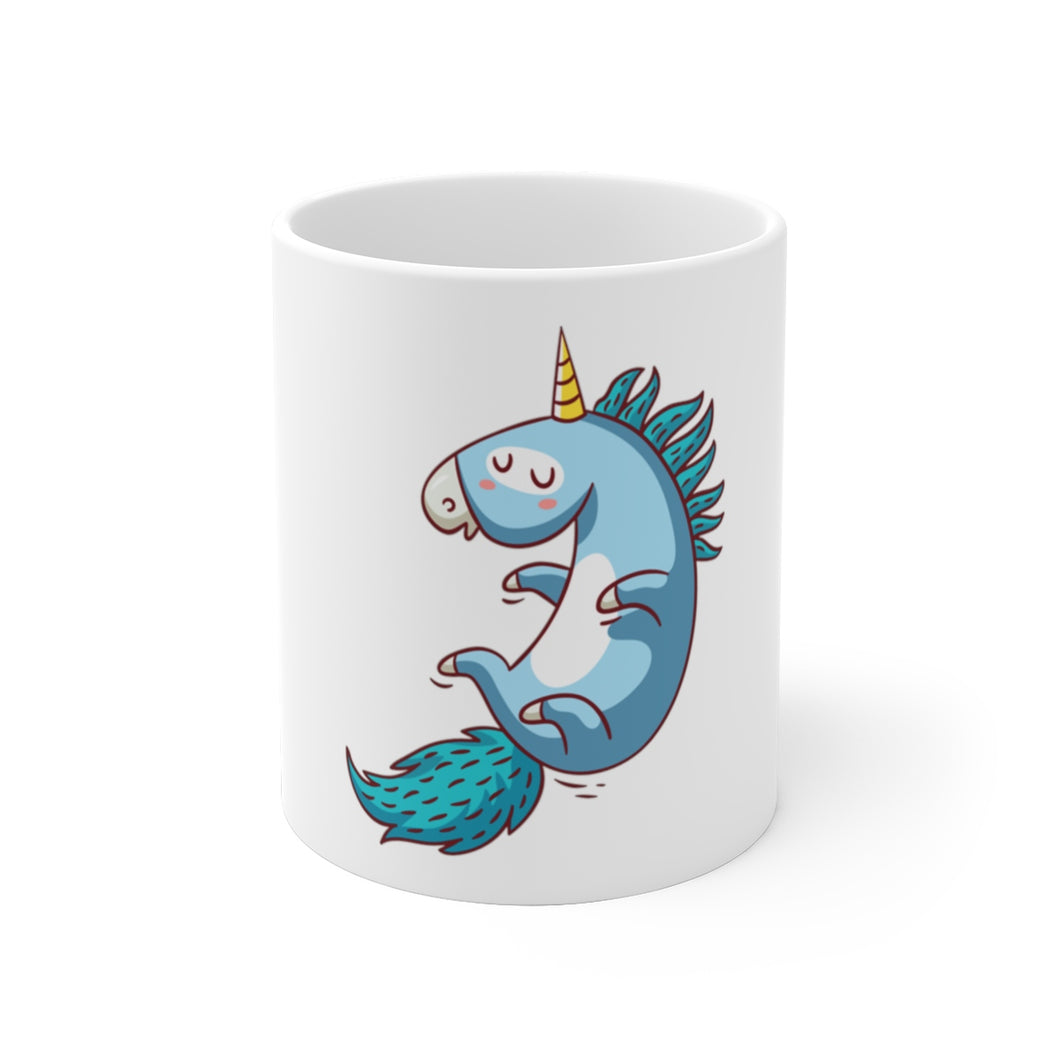 Try To Fly Unicorn White Ceramic Mug