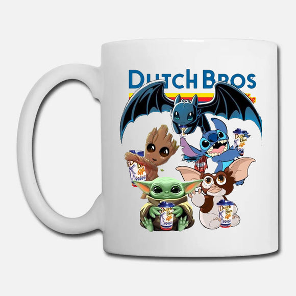 Baby Yoda Baby Groot and Toothless Stitch Gizmo hug Dutch Bros Coffee