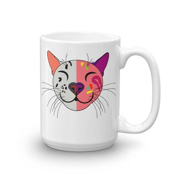 Cat Cartoon Mug MrsCopyCat Logo Cup Harlequin Cat Coffee Tea Cup Gift for Kids Birthday Christmas Rainbow Cat