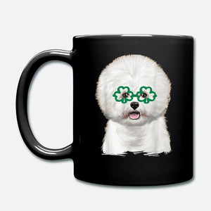 Cute Bichon Frise With Irish Lucky Shamrocks Glasses