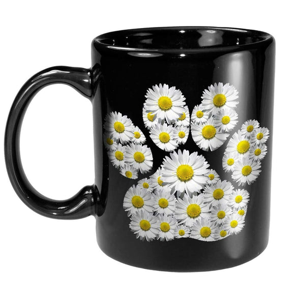 Dog Daisy Paw Print Floral Dogs Mom Pet Lover Coffee Mug Gift for Puppy Owner Trainer Groomer Women Girl Daughter Girlfriend Wife