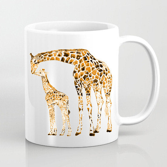 Giraffes Mug Watercolor - Tea Mug - Art Print - Nice Gift - Coffee Mug - Watercolor Mug Art - Giraffes Cup Art - Printed Mug - Ceramic Mug