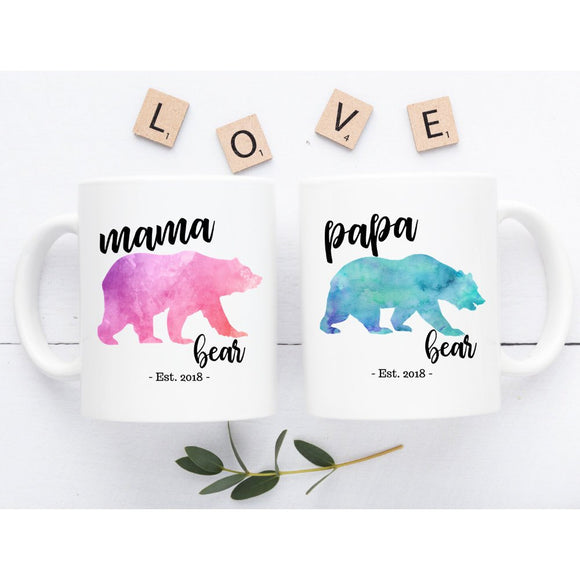 Mom and Dad Mugs, New Parents Gift, Mom Dad Mug, New Mom and Dad Gift, New Mom and Dad, New Parents Mug, New Parents Coffee Mug, Mama Bear