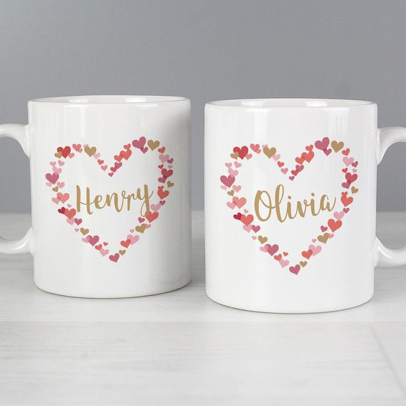 Personalised Confetti Hearts Wedding Mug Set - Valentine's Day Couple Mug Set - Wedding Gift - Anniversary Engagement Gift for Couple
