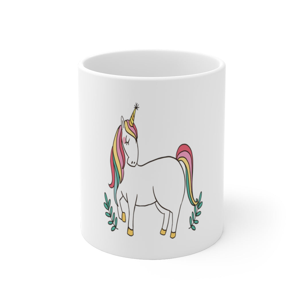 rainbow hair unicorn White Ceramic Mug