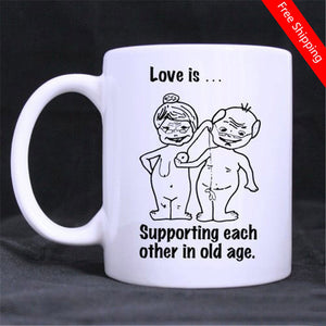 Love Is Supporting Each Other In Old Age Funny Illustration Ceramics Coffee 11 Oz Mug
