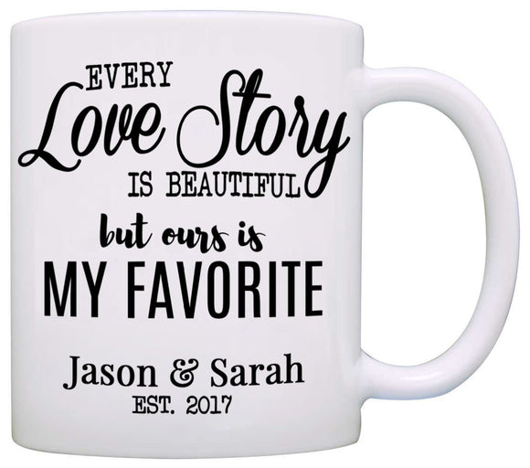 Personalized Romantic Couples Names Gift Coffee Mug for Wedding Anniversary Valentines Day and Christmas, Printed on Both Sides