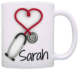 Personalized!! Stethoscope , a Funny and Unique Gift for Nurses and Doctors, Printed on Both Sides! - 11oz Coffee Mug