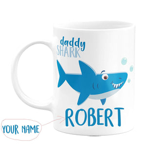 Daddy Shark with Your Name and Title - Birthday Gifts,valentine Gifts, Mother's Day Gifts, Father's Day Gifts 11 oz mug