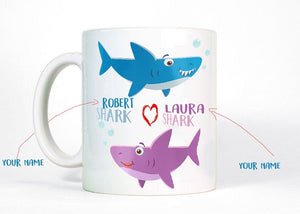 Valentine's Day Sharks with Your Name and Title - Baby Shark Valentine ,Birthday Gifts,valentine Gifts,  11 oz mug