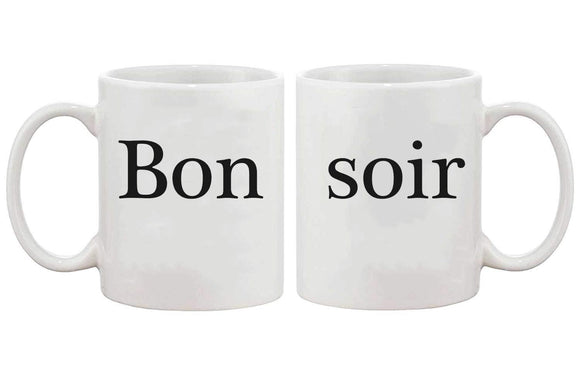 Bon Soir Mug Cup Set - Bold Statement Matching mugs - Valentines Day Gift Idea