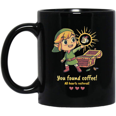Zelda You Found Coffee All Hearts Restored 11 Oz. Black Mug