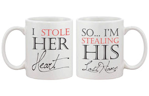 I Stole Her Heart, So I'm Stealing His Last Name Couple Mugs - His and Hers Matching Coffee Mug Cup Set Valentines Day Gift Idea