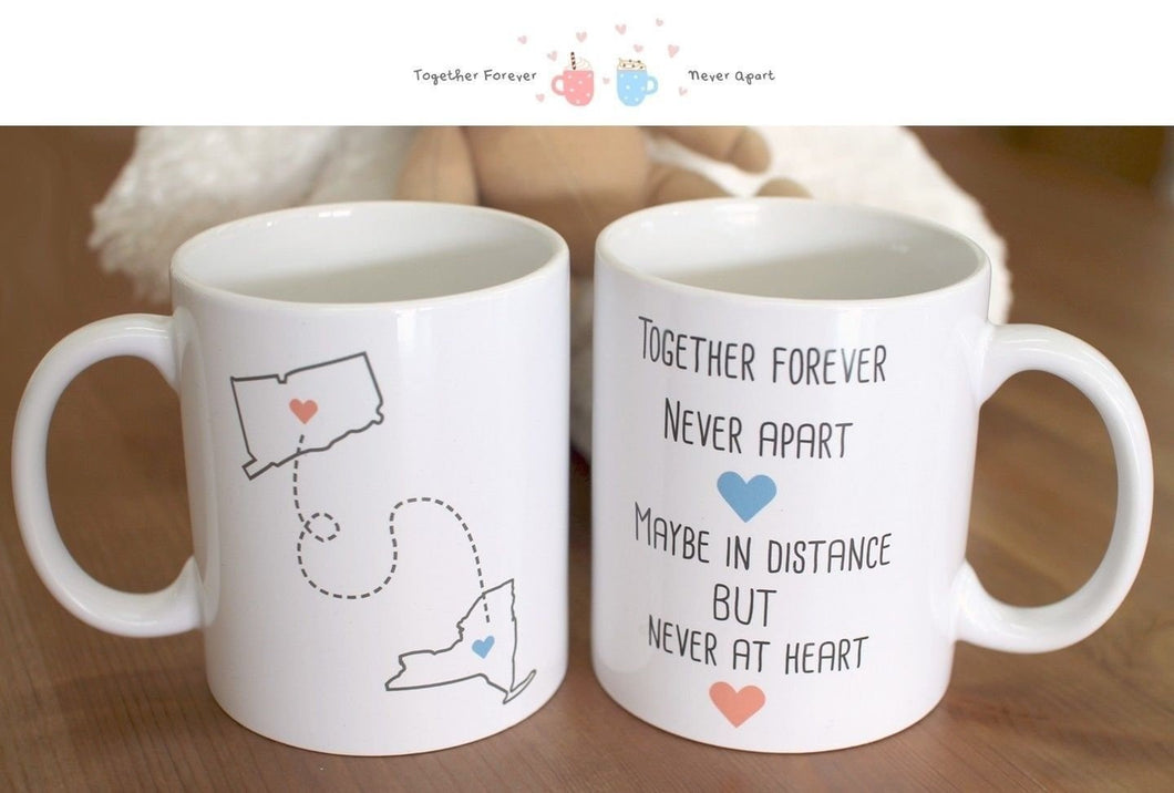 Together Forever Never Apart - Customizable Matching Ceramic Coffee Mugs Valentines Day Gift Idea